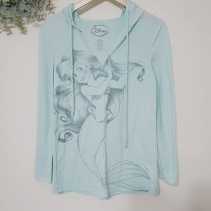 Disney Little Mermaid Hooded Longsleeve Tee Small